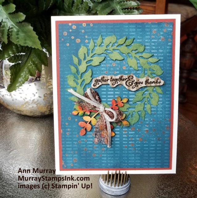 Thanksgiving card using All-Around Wreath dies