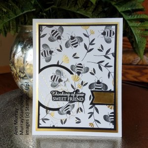 Card with bee theme using Honey Bee Bundle from Stampin