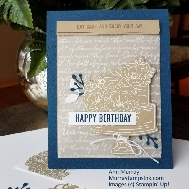 Birthday card on with embossed vellum and a 'memo pad' layout