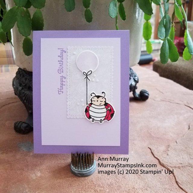 simple ladybug birthday card on purple background