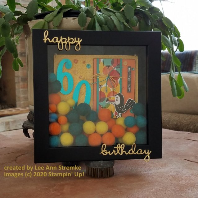 "ATC Card using Birthday Bonanza DSP is the focal point of this 7"" x 7"" shadowbox"