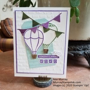 Hot Air Balloons in school colors for graduation card
