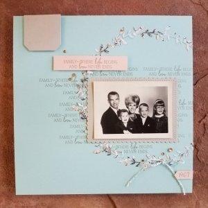 "8""x8"" scrapbook page featuring Parisian Blossom Designer Series Paper"