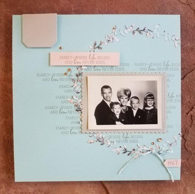 "8""x8"" scrapbook page featuring Parisian Blossom Designer Series Paper"