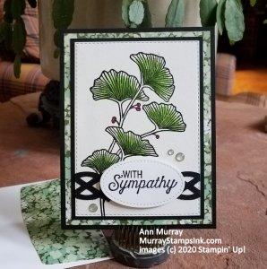 green leaves and braided trim sympathy card