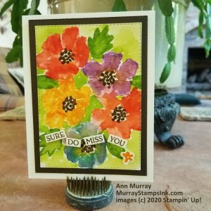 faux watercolor with stamped image