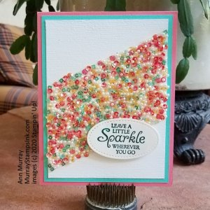 Strip of sparkle sequins on a card