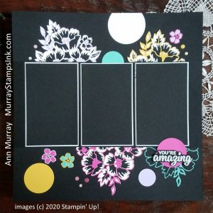 """brightly colored die-cut blossoms on 12"""" x 12"""" scrapbook page for displaying 2 3"""" x 5"""" portrait photos."""