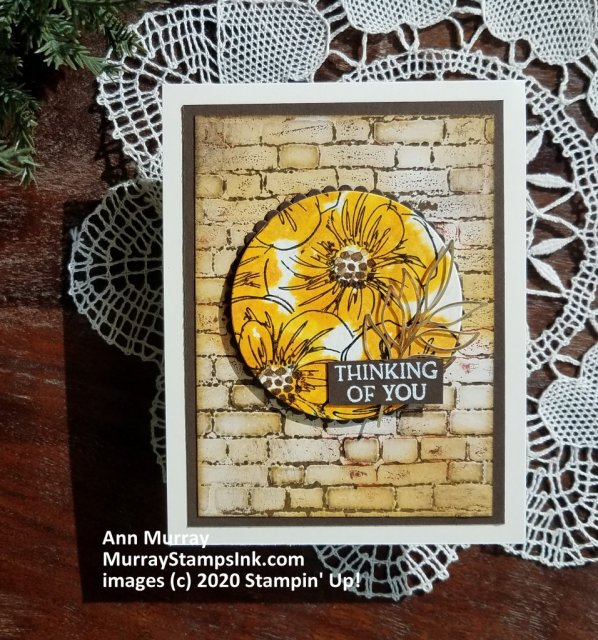Circle focal point on brick embossed background
