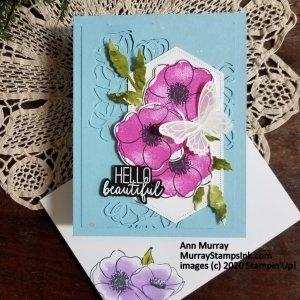 pink poppies on a blue background with vellum embossed butterfly