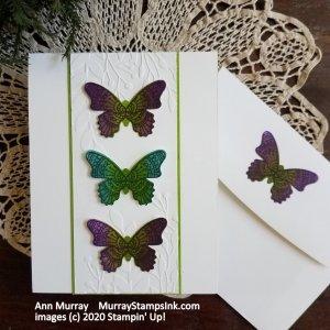 3 butterflies down center of card