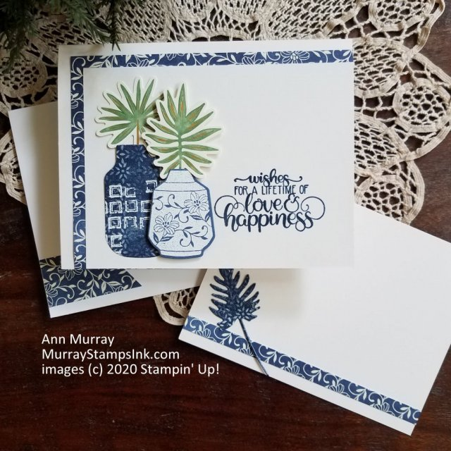 blue & white card using foiled palm leaves and embossed vase