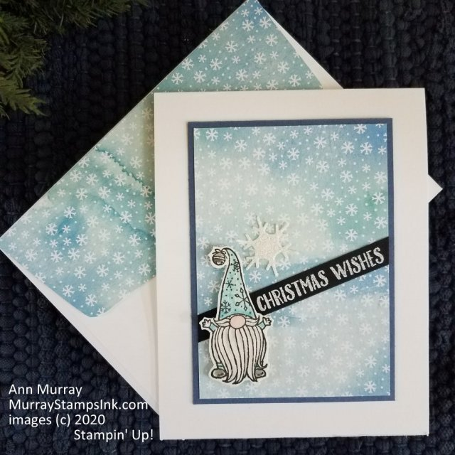 Snowflake gnome Christmas card using Stampin' Up! Gnome for the Holidays stamp set.