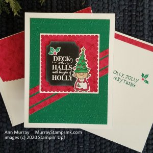 red & green Christmas card with gnome and holly